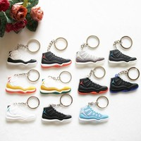 17 Color Mini Silicone Jordan 11 Keychain Bag Charm Kids Key Ring Gifts Key Chain