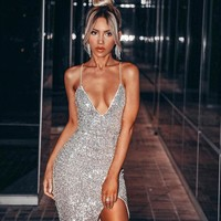 Adyce 2019 New Summer Silver Sequined Celebrity Evening Party Dress Women Sexy Sleeveless Spaghetti Strap V Neck Midi Club Dress