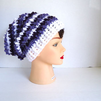 Womens reversible striped crochet hat, slouchy hat, crochet beanie, fall hat, winter hat, christmas gift, ready to ship