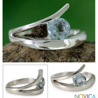 Blue topaz solitaire ring, 'Circle of Love'
