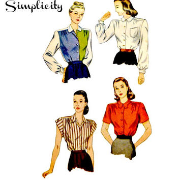 Vintage 40s Classic Blouses Pattern Misses Bishop Sleeves Shoulder Yoke Four Styles Simplicity 1538 Sewing Patterns Size 16 Bust 34