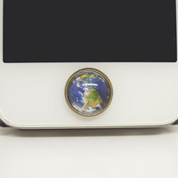 1PC Retro Glass Epoxy Transparent Times Gems The Earth Alloy  Cell Phone Home Button Sticker Charm for iPhone 4s,4g,5,5c Kids Gift