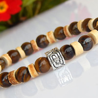 Men's Tiger Eye Bracelet, Men's Coco wood Bracelet, Men's Gemstone Bracelet, Gift for Him, Men's Bracelet, FREE SHIPPING