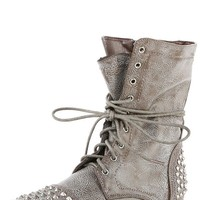 Breckelle's Georgia28 Stone Studded Lace Up Combat Boots and Shop Boots at MakeMeChic.com
