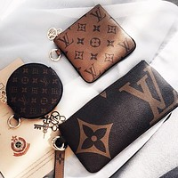 LV Louis Vuitton Stylish Retro Clutch Bag Wristlet Key Pouch Handbag Wallet Purse Three Piece Set
