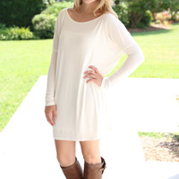 Piko Tunic Dress Long Sleeve- Ivory