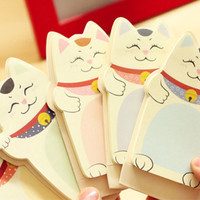 Cute Lucky Cat sticky notes, memo pads for DIY scrapbooking paper working, wedding party deco super value 5 packs