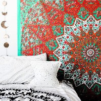 The Ishla Orange Green Mandala Boho Bohemian Tapestry