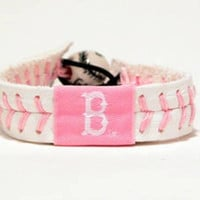Gamewear MLB Leather Wrist Band - Red Sox (Pink)