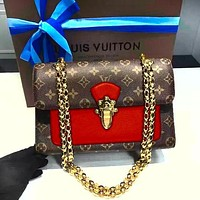 Samplefine2 Louis Vuitton fashion casual printing color matching shoulder bag small square bag Messenger chain bag Red