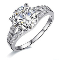 2 ct Excellent Cut wedding Jewelry silver SONA synthetic diamond ring