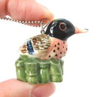 Duck Bird Porcelain Ceramic Animal Pendant Necklace | Handmade
