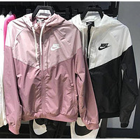 Nike women's breathable thin section stitching print hooded sports trench coat