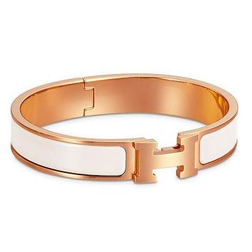 Hermes men and women tide enamel Palladium wide palladium bracelet F White+Gold