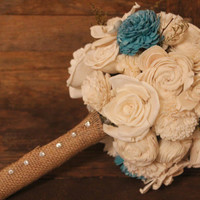 Medium Fake Flower Bridal Bouquet with Blue & Green Accents, Rustic Vintage Wedding, Outdoor Wedding, Country Wedding