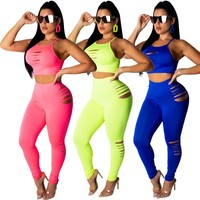 Women Sexy Two Piece Ripped Tank Crop Top Pant Set