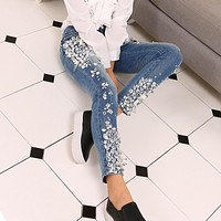 Rhinestones Diamond Denim Jeans