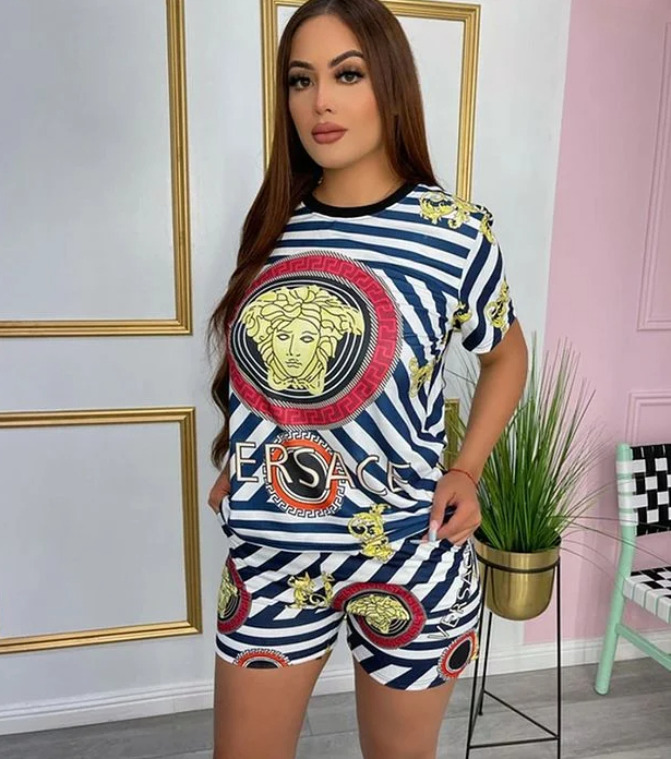 Image of Versace Women With short sleeves Top Pants shorts Two-Piece