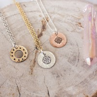Sacred geometry necklace in your choice of metal. Flower of life, Seed of life, or Sri Yantra
