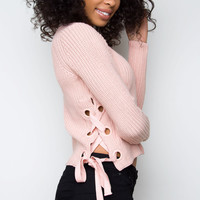 Free Fall Lace Up Sweater - Blush