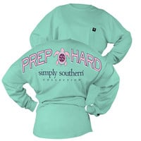 Simply Southern Prep Hard Turtle Logo Sweeper Long Sleeve Oversized Top Pocket Shirt Jersey