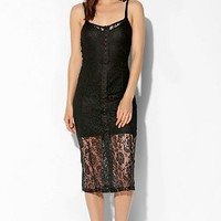 Kimchi Blue Lace Hook + Eye Front Midi Dress - Urban Outfitters