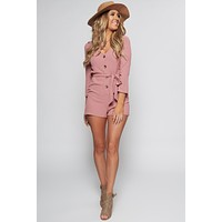May Flowers Button Up Romper (Mauve)