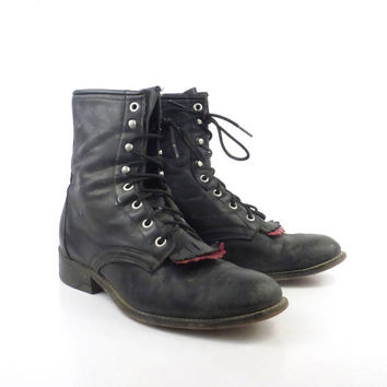 Roper Boots Vintage 1980s Laredo Leather Black and red Granny Lace up Packer Women's size 9 1/2 M