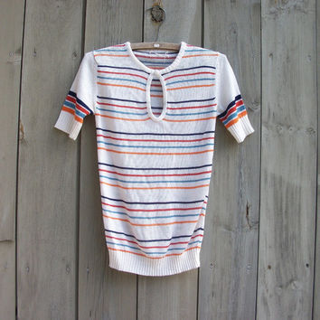 Vintage sweater - white striped short-sleeve women's pullover