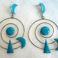Abstract Solar System Earrings - Enamel Turquoise & Spiral Wire Moon and Sun