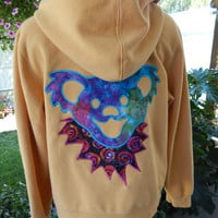 Grateful Dead Dancing Bear Yellow Upcycled Zip Up Hoodie OOAK Size L Patchwork  Hippie clothes, hoody boho chic, festival, jacket
