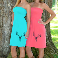 coral and mint western deer skull hunting dress