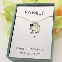 Family necklace Sterling silver Tree of life with Swarovski birthstone necklace, Christmas gift for wife, mom, grandma