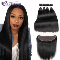 BeauDiva Brazilian Straight Bundles Lace Front Human Hair Bundles With Closure Non Remy Brazilian Human Hair With Frontal