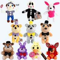 1pcs 25-30cm   At  Plush 15 style Freddy Bear Chica Bonnie Clown Balloon Boy Foxy Plush Stuffed Toys Doll