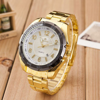 Fashion Mens Gold Alloy Band Strap Mrist Watch Best Christmas Gift Watch-455