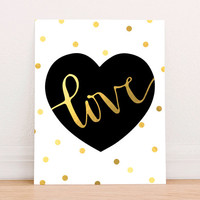 Gold Foil Heart Love Art Print Printable, Valentine Printable , Gold Nursery Wall Decor, Faux Gold Foil Art Print, Instant Download Wedding