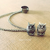 Tiny Vintage Owl Inspired Stud Set with Detachable EarCuff