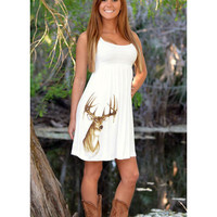 Women's Cute Country White Deer Dress - White