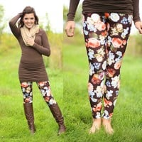Fall Garden Patterned Leggings in Brown