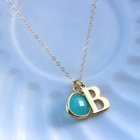 Any Letter & Color Pendant - Mint Initial Necklace Letter Jewelry Charm Personalized Necklace Christmas Gift Monogram Necklace Letter