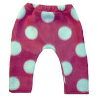 Baby Girls' Hot Pink Fleece Pants With White Polka Dots