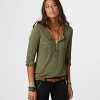 AE Hi-Lo Henley   American Eagle Outfitters