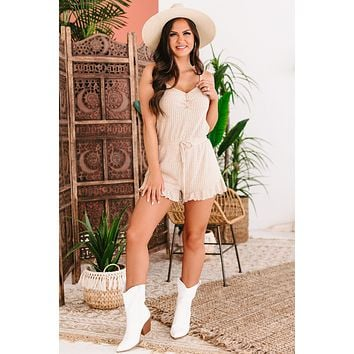 Keep Your Composure Ruffled Textured Knit Romper (Cream)