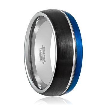 Three Tone Natural, Blue & Black Brushed Grooved Center at the Ring - 8MM