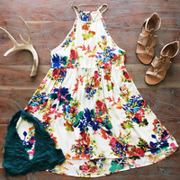 A Classic Floral Sundress in Ivory