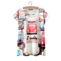 White Traffic Jam Print T Shirt