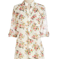 ModCloth Vintage Inspired, French Long Short Sleeves Along the Breezeway Top