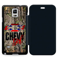 Camo Chevy Girl Leather Wallet Flip Case Samsung Galaxy Note 4