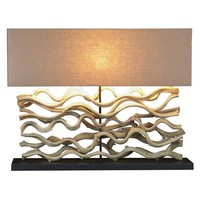 Large Drift wood Vine Sculpture Table Lamp with Course Linen Shade 25-in